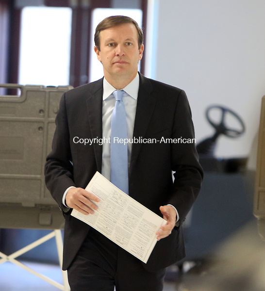 CHESHIRE CT. 08 November 2016-110816SV02-Sen. Christopher S. Murphy, D-Conn., votes at Cheshire High School in Cheshire Tuesday.<br /> Steven Valenti Republican-American