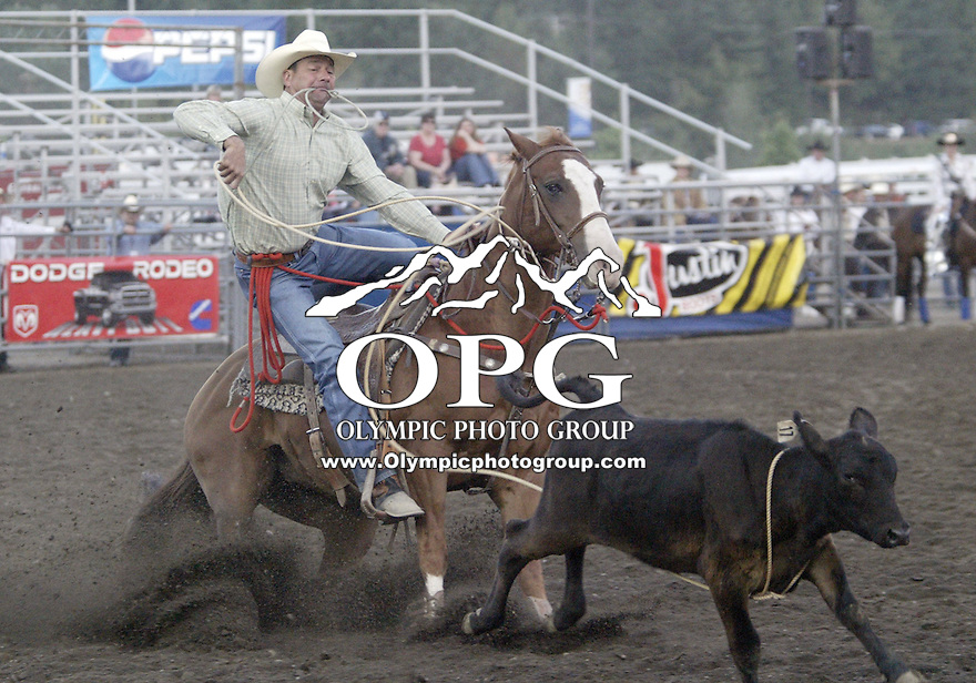 Paul Cope from Nampa, Idaho could not score in the Tie Down competition at the Kitsap County stampede in Bremerton, Washington.