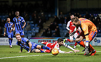 Fleetwood Town's Ched Evans is thwarted by  Gillingham's Connor Ogilvie and Tomas Holy<br /> <br /> Photographer Andrew Kearns/CameraSport<br /> <br /> The EFL Sky Bet League One - Gillingham v Fleetwood Town - Saturday 3rd November 2018 - Priestfield Stadium - Gillingham<br /> <br /> World Copyright © 2018 CameraSport. All rights reserved. 43 Linden Ave. Countesthorpe. Leicester. England. LE8 5PG - Tel: +44 (0) 116 277 4147 - admin@camerasport.com - www.camerasport.com