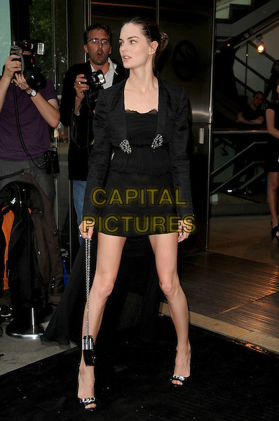 "ANOUK LEPERE .Opening Night of the ""Ballets Russes"" season at the Sadlers Wells Theatre, London, England. .June 16th, 2009 .full length black dress slit split leg thigh mini side view jacket .CAP/CAS.©Bob Cass/Capital Pictures."