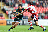 Matt Toomua of Leicester Tigers fends Matt Scott of Gloucester Rugby. Aviva Premiership match, between Leicester Tigers and Gloucester Rugby on September 16, 2017 at Welford Road in Leicester, England. Photo by: Patrick Khachfe / JMP