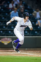 Zack Collins (8) of the Winston-Salem Dash hustles down the first base line against the Myrtle Beach Pelicans at BB&T Ballpark on May 11, 2017 in Winston-Salem, North Carolina.  The Pelicans defeated the Dash 9-7.  (Brian Westerholt/Four Seam Images)