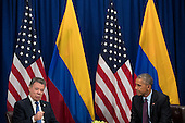 (L to R) President of Colombia Juan Manuel Santos speaks during a bilateral meeting with United States President Barack Obama at the Lotte New York Palace Hotel, September 21, 2016 in New York City. In Tuesday's speech to the United Nations General Assembly, Obama stated that 'helping Colombia end Latin America's longest war' was among his major accomplishments as president. Last month, the Colombian government reached a peace agreement with the Revolutionary Armed Forces of Colombia (FARC). <br /> Credit: Drew Angerer / Pool via CNP