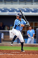 Charlotte Stone Crabs third baseman Andrew Velazquez (1) at bat during a game against the Dunedin Blue Jays on July 26, 2015 at Charlotte Sports Park in Port Charlotte, Florida.  Charlotte defeated Dunedin 2-1 in ten innings.  (Mike Janes/Four Seam Images)