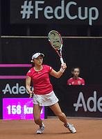 The Netherlands, Den Bosch, 16.04.2014. Fed Cup Netherlands-Japan,  Misaki Doi (JPN)<br /> Photo:Tennisimages/Henk Koster