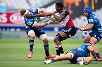 March 14th 2020, Eden Park, Auckland, New Zealand;  Lions Hacjivah Dayimani holds off the challenge during the Super Rugby match between the Blues and the Lions, held at Eden Park, Auckland, New Zealand.