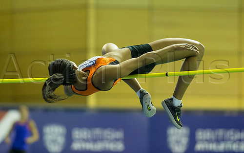 27.02.2016. EIS Sheffield, Sheffield, England. British Indoor Athletics Championships Day One. Moe Sasegbon (Nigeria) competes in the Women's High Jump.