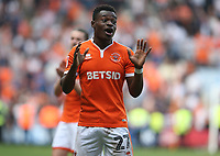 Blackpool's Marc Bola applauds the fans at the final whistle <br /> <br /> Photographer Stephen White/CameraSport<br /> <br /> The EFL Sky Bet League One - Blackpool v Fleetwood Town - Monday 22nd April 2019 - Bloomfield Road - Blackpool<br /> <br /> World Copyright © 2019 CameraSport. All rights reserved. 43 Linden Ave. Countesthorpe. Leicester. England. LE8 5PG - Tel: +44 (0) 116 277 4147 - admin@camerasport.com - www.camerasport.com