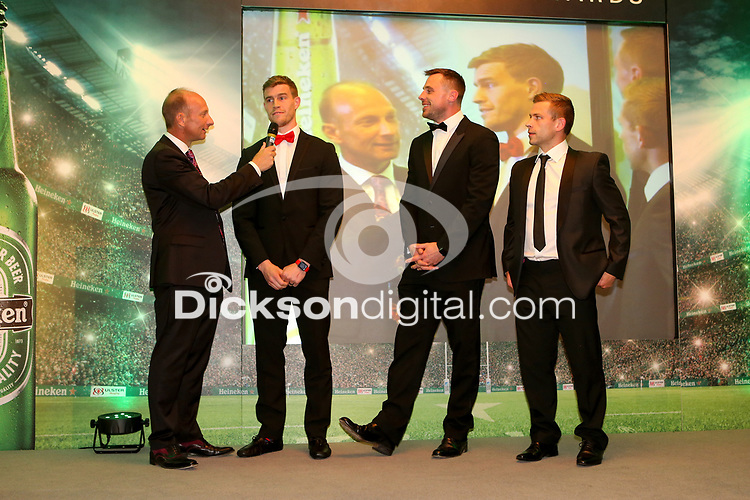 Thursday 10th May 2018 | Ulster Rugby Awards 2018<br /> <br /> Stephen Watson interviews retiring player Andrew Trimble, during the 2018 Heineken Ulster Rugby Awards at La Mom Hotel, Belfast. Photo by John Dickson / DICKSONDIGITAL
