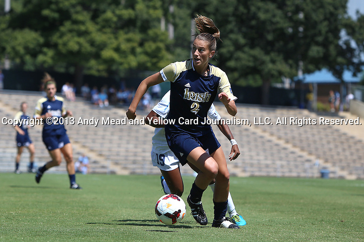 15 September 2013: Notre Dame's Mandy Laddish. The University of North Carolina Tar Heels hosted the University of Notre Dame Fighting Irish at Fetzer Field in Chapel Hill, NC in a 2013 NCAA Division I Women's Soccer match. Notre Dame won the game 1-0.