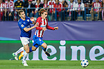 Marc Albringhton of Leicester City Football Club competes for the ball with Antoine Griezmann of Atletico de Madrid  during the match of  Champions LEague between  Atletico de Madrid and LEicester City Football Club at Vicente Calderon  Stadium  in Madrid, Spain. April 12, 2017. (ALTERPHOTOS / Rodrigo Jimenez)