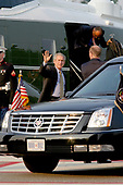 Bethesda, MD - August 1, 2006 -- United States President  George W. Bush arrives at the National Naval Medical Center in Bethesda, Maryland for his annual physical examination, August 1, 2006.<br /> Credit: Martin H. Simon - Pool via CNP