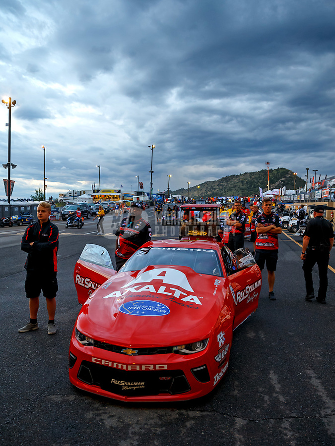 Jul 21, 2017; Morrison, CO, USA; Crew members with NHRA pro stock driver Drew Skillman during qualifying for the Mile High Nationals at Bandimere Speedway. Mandatory Credit: Mark J. Rebilas-USA TODAY Sports