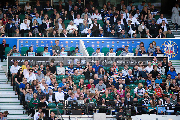 A general view of the coaches' box. The Clash, Aviva Premiership match, between Bath Rugby and Leicester Tigers on April 8, 2017 at Twickenham Stadium in London, England. Photo by: Patrick Khachfe / Onside Images