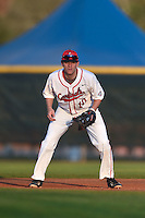 Ball State Cardinals first baseman Sean Kennedy (10) during a game against the Maine Black Bears on March 3, 2015 at North Charlotte Regional Park in Port Charlotte, Florida.  Ball State defeated Maine 8-7.  (Mike Janes/Four Seam Images)