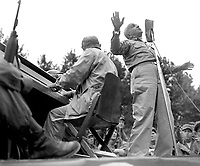 Al Jolson entertains U.S. troops at Pusan Stadium during his visit to the fighting front.  He died shortly after his return from Koera where he gave of his talent untirigly and unceasingly.  He made the trip at his own expense.  September 17, 1950.  Kondreck. (Army)<br /> NARA FILE #  111-SC-348605<br /> WAR & CONFLICT BOOK #:  1468