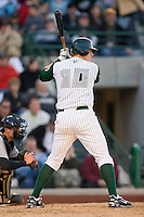 Allan Dykstra #10 of the Fort Wayne Tin Caps at bat versus the Dayton Dragons at Parkview Field April 16, 2009 in Fort Wayne, Indiana. (Photo by Brian Westerholt / Four Seam Images)