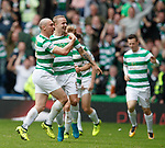 Scott Brown and Leigh Griffiths celebrate to the Rangers fans in the Govan Stand