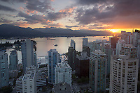 skyline sunrise from Empire Landmark hotel testaurant, Vancouver, BC, Canada