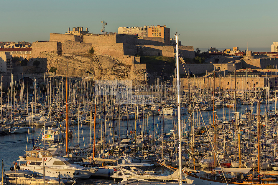 France, Bouches-du-Rhône (13), Marseille, capitale européenne de la culture 2013, Vieux Port, Citadelle Saint Nicolas classée Monument Historique, fort d'Entrecasteaux (XVIIe siècle) // France, Bouches du Rhone, Marseille, European capital of culture 2013, Vieux Port, Saint Nicolas citadel Historical Monument, strong Entrecasteaux (17th century)