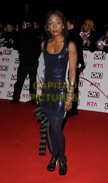 DIANE PARISH.The National Television Awards held at the Royal Albert Hall, London, England..October 29th, 2008.NTA red carpet arrivals full length black tights blue sequins sequined dress silver bracelets .CAP/CAN.©Can Nguyen/Capital Pictures.