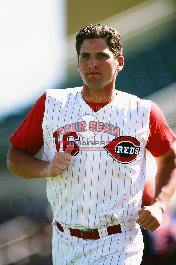 Ben Broussard of the Cincinnati Reds organization plays in a California Fall League game at The Epicenter circa October 1999 in Rancho Cucamonga, California. (Larry Goren/Four Seam Images)