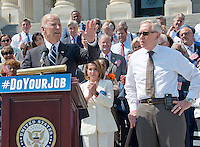 United States Vice President Joe Biden, left, makes remarks as he joins Democratic members of the US House of Representatives and US Senate assembling on the East Steps of the US Capitol to call on Republican leadership in both legislative bodies to schedule votes on funding to combat the Zika Virus, to prohibit people on the federal &quot;no fly&quot; list from purchasing guns, and to conduct confirmation hearings and schedule a vote on the confirmation of Judge Merrick Garland as Associate Justice of the US Supreme Court in Washington, DC on Thursday, September 8, 2016.  US House Minority Leader Nancy Pelosi (Democrat of California), center, and United States Senate Minority Leader Harry Reid (Democrat of Nevada), right, listen.<br /> Credit: Ron Sachs / CNP /MediaPunch