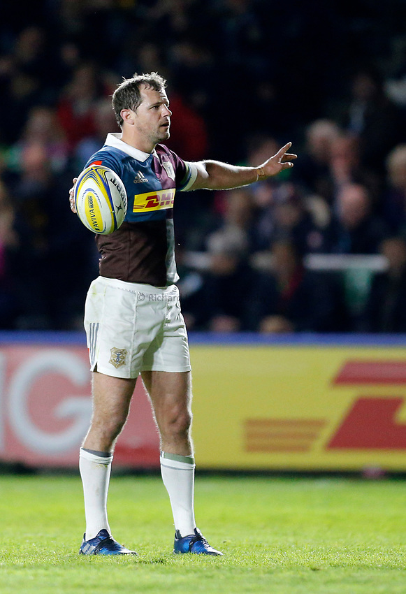 Photo: Richard Lane/Richard Lane Photography. Aviva Premiership. Harlequins v Wasps. 28/04/2017. Quins' Nick Evans.