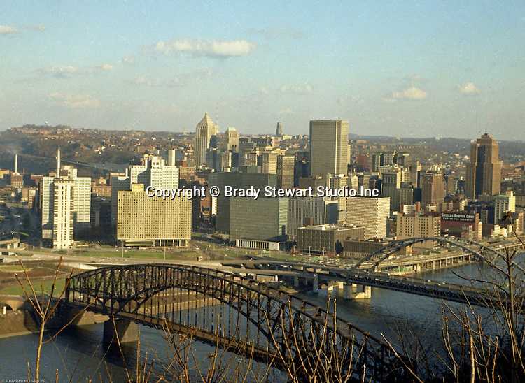 Pittsburgh PA: View of the skyline and city of Pittsburgh from Mt Washington - 1965.  Photo was taken right After the completion of the Gateway Towers.