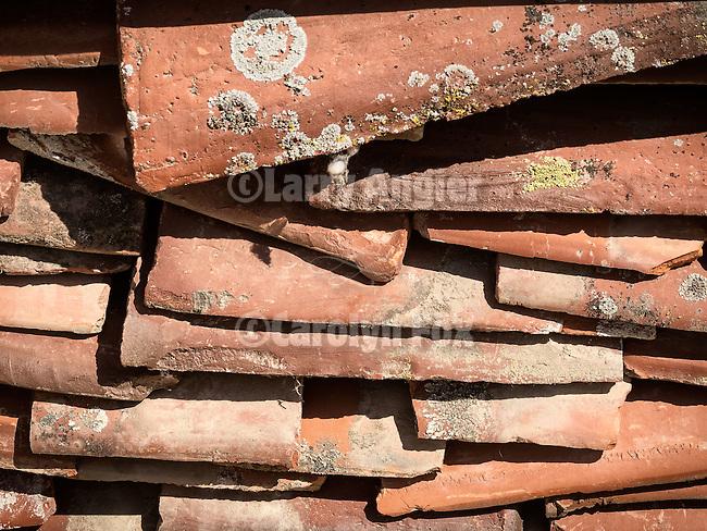 Roof tiles in storage during earthquake retrofit repair, Historic Mission San Antonio de Padua, Jolon, Calif.<br /> <br /> 3rd of the California Missions and established by Fr. Junipero Serra, 1771.
