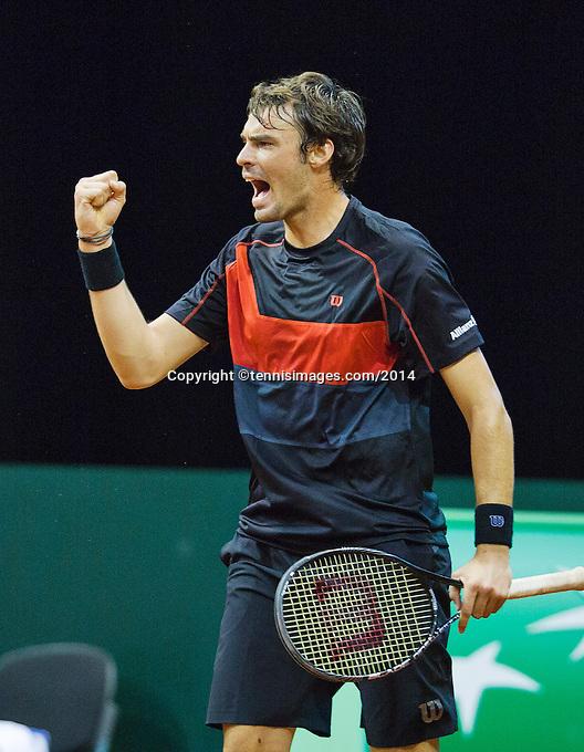 September 12, 2014, Netherlands, Amsterdam, Ziggo Dome, Davis Cup Netherlands-Croatia, Mate Delic (CRO) reacts<br /> Photo: Tennisimages/Henk Koster