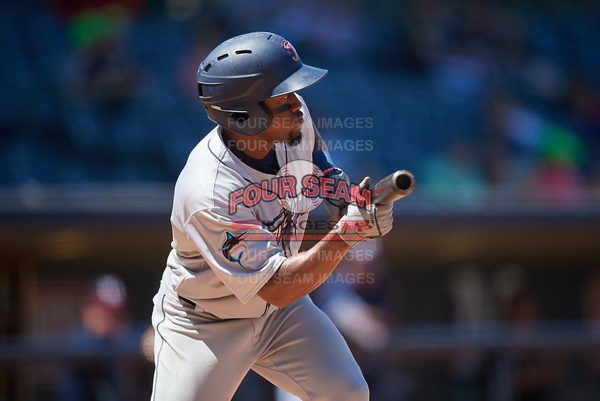 Jacksonville Jumbo Shrimp Anfernee Seymour (9) at bat during a Southern League game against the Mississippi Braves on May 5, 2019 at Trustmark Park in Pearl, Mississippi.  Mississippi defeated Jacksonville 1-0 in ten innings.  (Mike Janes/Four Seam Images)