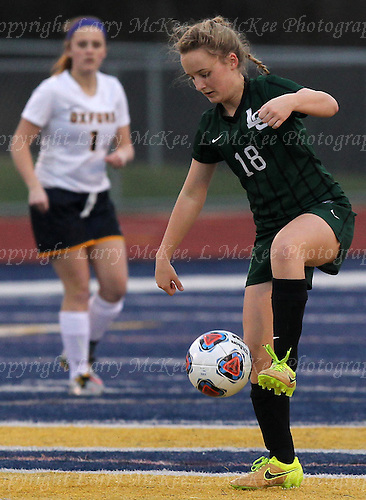 Marisa Szydlowski. Emma Gordon. Oxford vs Lake Orion, girls varsity soccer action at Oxford High School Wednesday, March 31, 2016. (Photos: Larry McKee, L McKee Photography. PLEASE NOTE: ALL PHOTOS ARE CUSTOM CROPPED. THIS CAN CAUSE EXTRA WHITE SPACE AROUND BORDERS. BEFORE PURCHASING AN IMAGE, PLEASE CHOOSE PROPER PRINT FORMAT TO BEST FIT IMAGE DIMENSIONS.  L McKee Photography, Clarkston, Michigan. L McKee Photography, Specializing in Action Sports, Senior Portrait and Multi-Media Photography. Other L McKee Photography services include business profile, commercial, event, editorial, newspaper and magazine photography. Oakland Press Photographer. North Oakland Sports Chief Photographer. L McKee Photography, serving Oakland County, Genesee County, Livingston County and Wayne County, Michigan. L McKee Photography, specializing in high school varsity action sports and senior portrait photography.