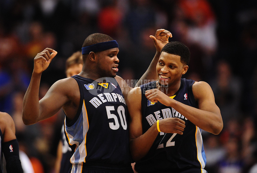 Dec. 8, 2010; Phoenix, AZ, USA; Memphis Grizzlies forward (50) Zach Randolph celebrates a fourth quarter play with forward (22) Rudy Gay against the Phoenix Suns at the US Airways Center. Memphis defeated Phoenix 104-98 in overtime. Mandatory Credit: Mark J. Rebilas-