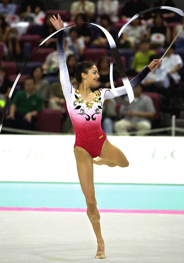 01 OCTOBER 1999 - OSAKA, JAPAN: Viktoria Danova of Bulgaria performs with ribbon at the 1999 World Championships in Osaka, Japan.  Viktoria placed 16th in the individual all-around.