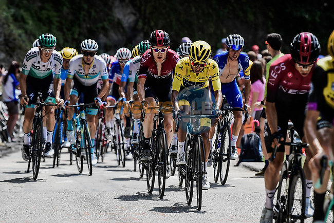 The peloton including Yellow Jersey Egan Bernal (COL) and Geraint Thomas (WAL) Team Ineos during Stage 20 of the 2019 Tour de France running 59.5km from Albertville to Val Thorens, France. 27th July 2019.<br /> Picture: ASO/Pauline Ballet | Cyclefile<br /> All photos usage must carry mandatory copyright credit (© Cyclefile | ASO/Pauline Ballet)