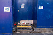 Sleeping place of homeless rough sleeper, Oxford Street, London