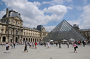 The Louvre and the pyramid entrance, Paris