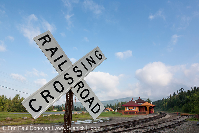 Railroad Crosssing along the old Boston and Maine Railroad near Fabyans in Carroll, New Hampshire USA.