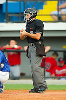 Home plate umpire Stephen Linebarger during the Appalachian League game between the Danville Braves and the Burlington Royals at Burlington Athletic Park on August 14, 2011 in Burlington, North Carolina.  The Braves defeated the Royals 10-2 in a game called by rain in the bottom of the 8th inning.   (Brian Westerholt / Four Seam Images)