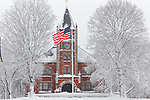 Thompson Hall at UNH during a snowstorm, Durham, New Hampshire, USA