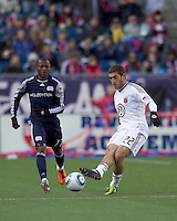 DC United defender Chris Korb (22) passes the ball. In a Major League Soccer (MLS) match, the New England Revolution defeated DC United, 2-1, at Gillette Stadium on March 26, 2011.