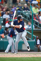 Toledo Mudhens third baseman JaCoby Jones (5) at bat during a game against the Rochester Red Wings on June 12, 2016 at Frontier Field in Rochester, New York.  Rochester defeated Toledo 9-7.  (Mike Janes/Four Seam Images)