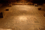 Israel, Harod valley. The mosaic floor of the a sixth-century Synagogue in Beth Alpha