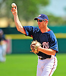 15 March 2009: Washington Nationals' infielder Pete Orr in action during a Spring Training game against the Detroit Tigers at Space Coast Stadium in Viera, Florida. Orr recently returned from the World Baseball Classic, where he played for Canada. The Tigers shut out the Nationals 3-0 in the Grapefruit League matchup. Mandatory Photo Credit: Ed Wolfstein Photo
