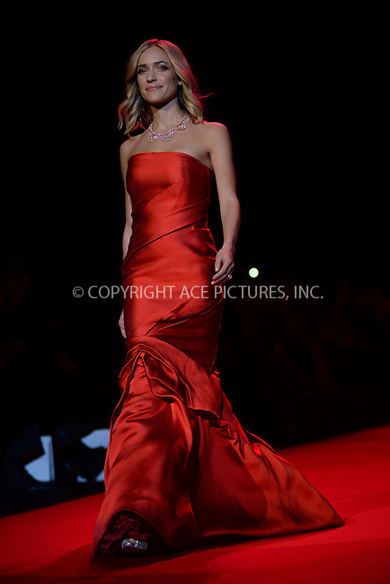 WWW.ACEPIXS.COM<br /> February 12, 2015 New York City<br /> <br /> Kristin Cavallari walks the runway at the Go Red For Women Red Dress Collection 2015 presented by Macy's fashion show during Mercedes-Benz Fashion Week Fall 2015 at The Theatre at Lincoln Center on February 12, 2015 in New York City.<br /> <br /> Please byline: Kristin Callahan/AcePictures<br /> <br /> ACEPIXS.COM<br /> <br /> Tel: (646) 769 0430<br /> e-mail: info@acepixs.com<br /> web: http://www.acepixs.com