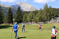 Doug Ghim (USA) putts on the 5th green during Sunday's Final Round 4 of the 2018 Omega European Masters, held at the Golf Club Crans-Sur-Sierre, Crans Montana, Switzerland. 9th September 2018.<br /> Picture: Eoin Clarke | Golffile<br /> <br /> <br /> All photos usage must carry mandatory copyright credit (&copy; Golffile | Eoin Clarke)