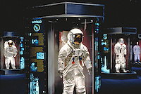 Space Center Houston visitor center at Johnson Space Center. Space suit display. Houston Texas.