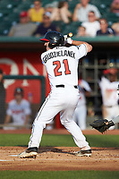 Brandon Grudzielanek (21) of the Lansing Lugnuts at bat against the South Bend Cubs at Cooley Law School Stadium on June 15, 2018 in Lansing, Michigan. The Lugnuts defeated the Cubs 6-4.  (Brian Westerholt/Four Seam Images)
