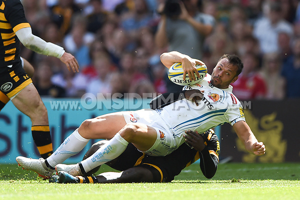 Phil Dollman of Exeter Chiefs is tackled by Christian Wade of Wasps on his way to the try-line. Aviva Premiership Final, between Wasps and Exeter Chiefs on May 27, 2017 at Twickenham Stadium in London, England. Photo by: Patrick Khachfe / JMP